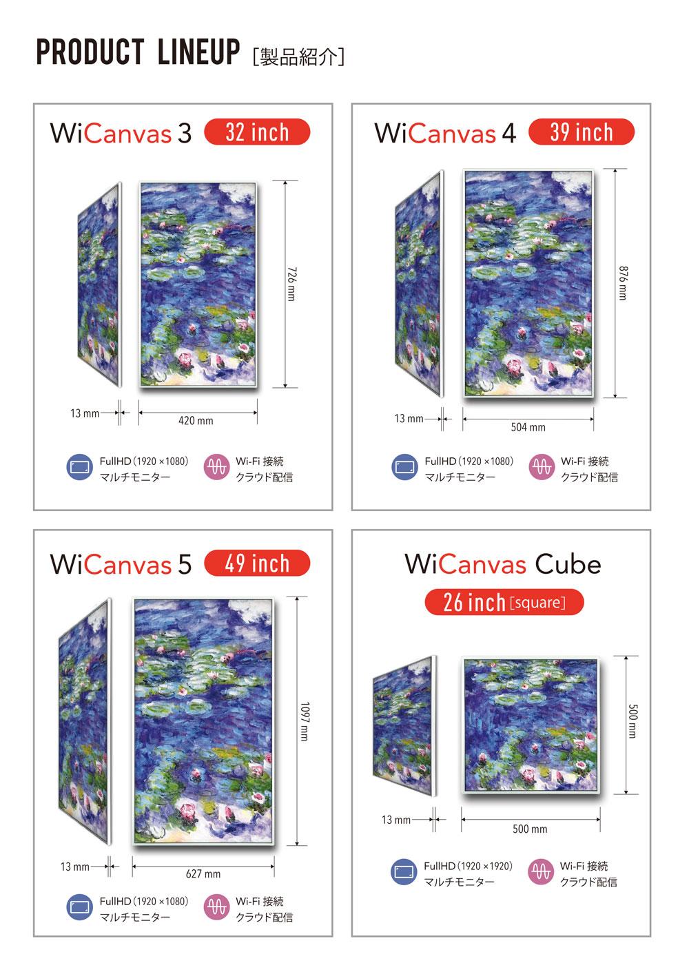 WiCanvas 32インチ,39インチ,49インチ,26インチ,超薄型デジタルサイネージ
