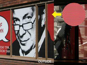 窓ガラスに貼ったシースルーグラフィックス(コントラビジョン)。ドットにより、外からはビジュアルが見え、中からは外の景色が見えます。