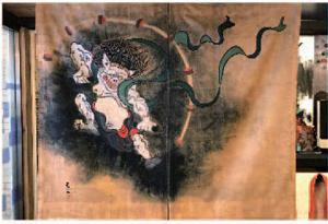 オリジナルカーテン風神雷神