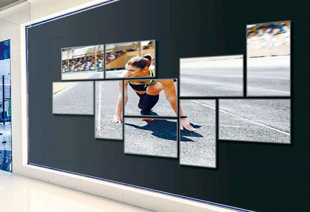 WiCanvas マルチモニター10画面設置例,超薄型デジタルサイネージ